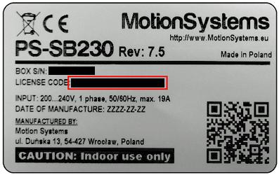 Motion Platform Sticker with License Code